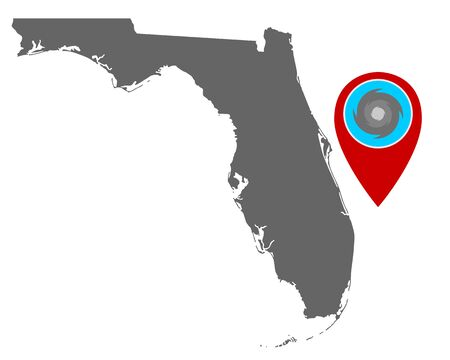 Map of Florida and pin with hurricane warning