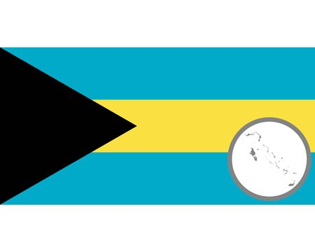 Flag and map of the Bahamas