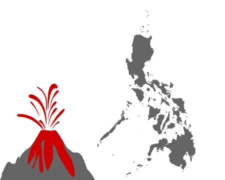 Map of the Philippines with volcano