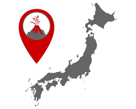 Map of Japan with volcano locator