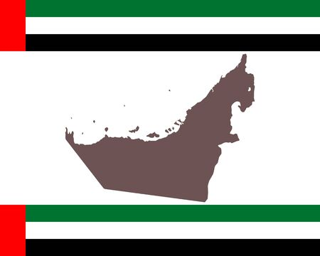 Map of the United Arab Emirates on background with flag