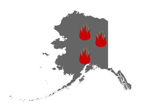 Map of Alaska and fire symbol Иллюстрация
