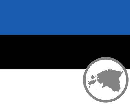 Flag and map of Estonia