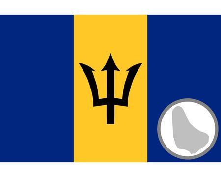Flag and map of Barbados Stock Vector - 134894017