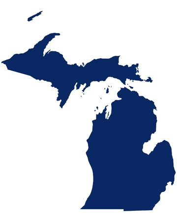 Map of Michigan in blue colour 向量圖像