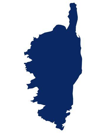 Karte von Korsika in blauer Farbe
