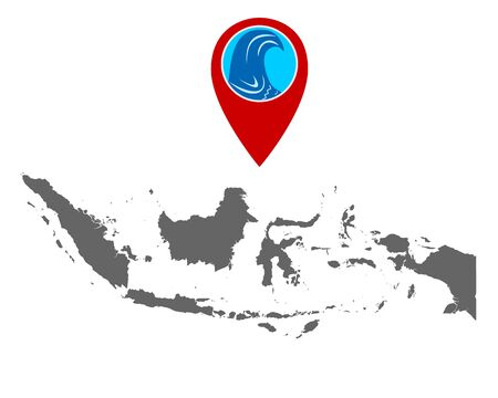 Map of Indonesia and pin with tsunami warning