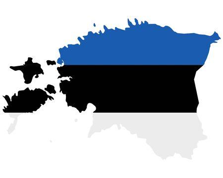 Flag in map of Estonia  イラスト・ベクター素材