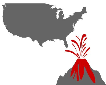 Map of the USA with volcano
