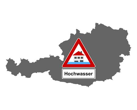 Map of Austria and traffic sign flood