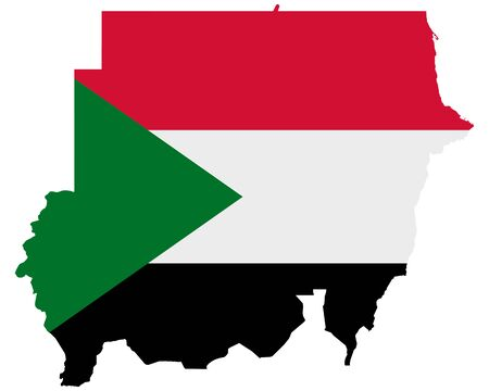 Flag in map of the Sudan