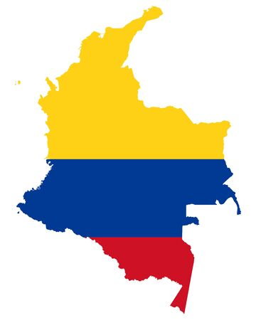 Flag in map of Colombia