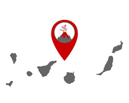 Map of the Canary Islands with volcano locator Vettoriali