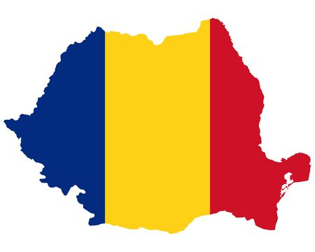 Flag in map of Romania