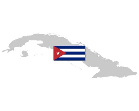 Flag and map of Cuba