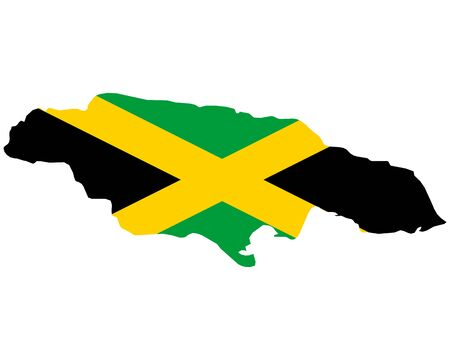 Flag in map of Jamaica
