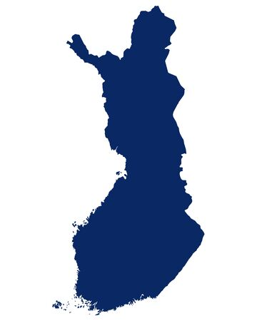 Map of the Finland in blue colour