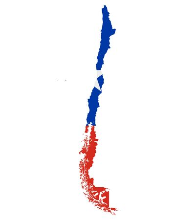 Flag in map of Chile Векторная Иллюстрация