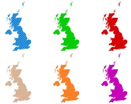 Maps of Great Britain coarse meshed Ilustrace