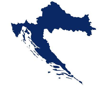 Map of Croatia in blue colour