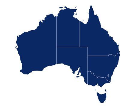 Carte de l'Australie avec les états et les frontières Vecteurs