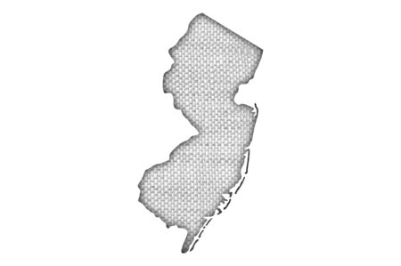 Map of New Jersey on old linen