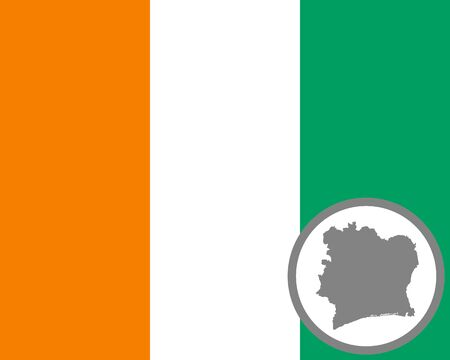 Flag and map of the Ivory Coast