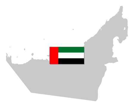 Flag and map of the United Arab Emirates