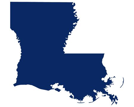 Map of Louisiana in blue colour Vecteurs