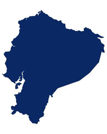 Map of Ecuador in blue colour