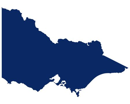 Map of Victoria in blue colour