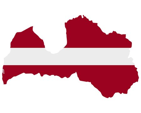 Flag in map of Latvia
