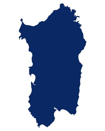 Map of Sardinia in blue colour