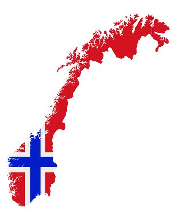 Flag in map of Norway