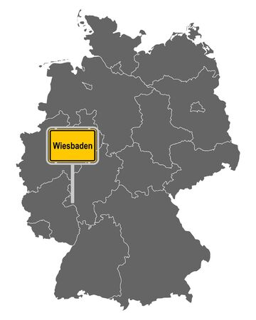 Map of Germany with road sign of Wiesbaden