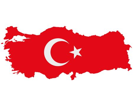 Flag in map of Turkey