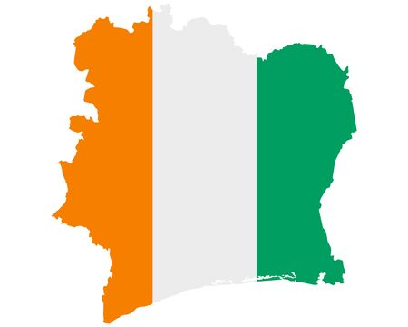 Flag in map of Ivory Coast Vectores