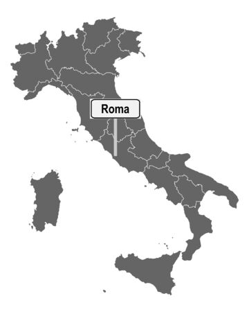 Map of Italy with road sign of Roma Çizim