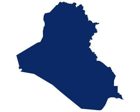 Map of the Iraq in blue colour