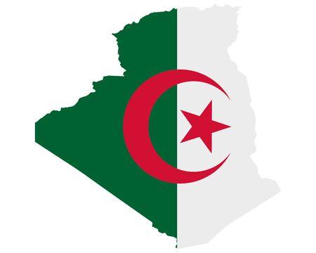 Flag in map of Algeria Vectores