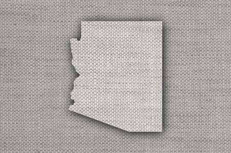 Map of Arizona on old linen