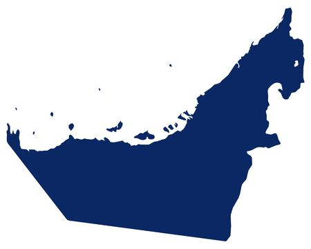Map of United Arab Emirates in blue colour