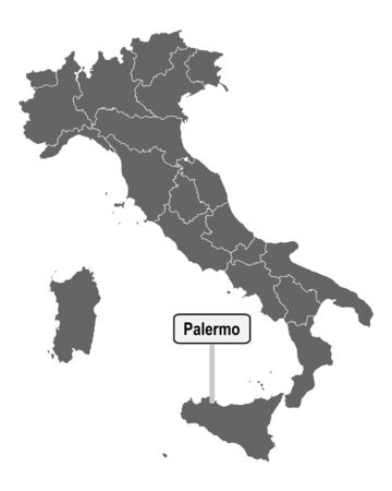 Map of Italy with road sign of Palermo