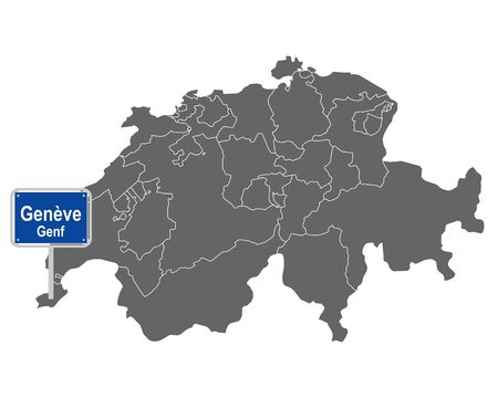 Map of Switzerland with road sign of Genève Illustration