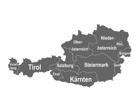 Map of Austria with federal states