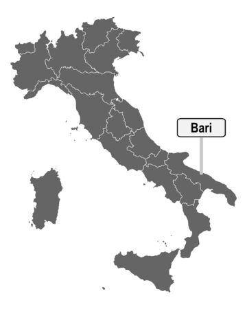 Map of Italy with road sign of Bari Ilustrace