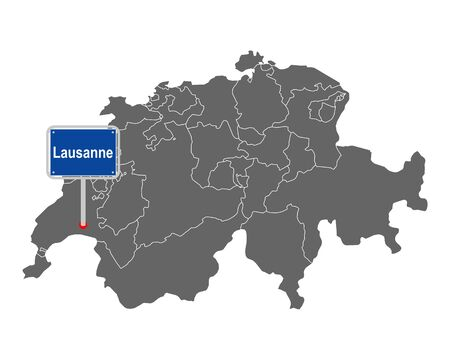 Map of Switzerland with road sign of Lausanne
