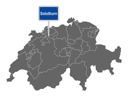 Map of Switzerland with road sign of Solothurn