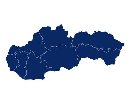 Map of Slovakia with regions and borders