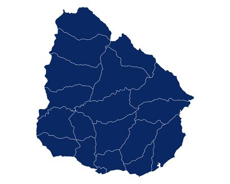 Map of Uruguay with regions and borders
